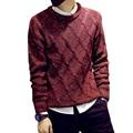 Moda de Nova Outono Inverno Homens roupas Grossas Blusas de Malha pulôveres de manga longa o-pescoço fino cashmere Masculino Malhas Plus Size