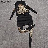 Летние Для женщин костюмы Повседневное спортивные костюмы с длинными рукавами вышивка пайетками футболки Высокая Талия Длинные брюки 2 шт.