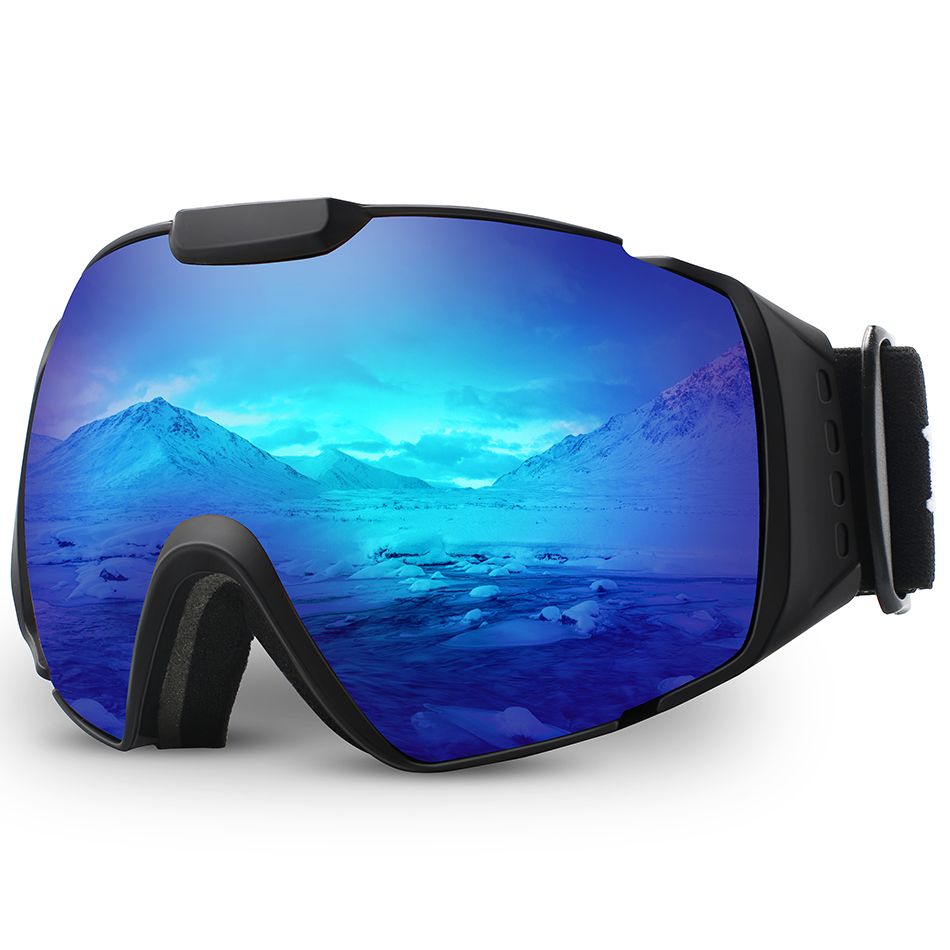 Ski Goggles,OTG Anti-Fog Snowboard Skate Snowmoblie Double Layer Spherical Lens Snow Goggles Men Women M4