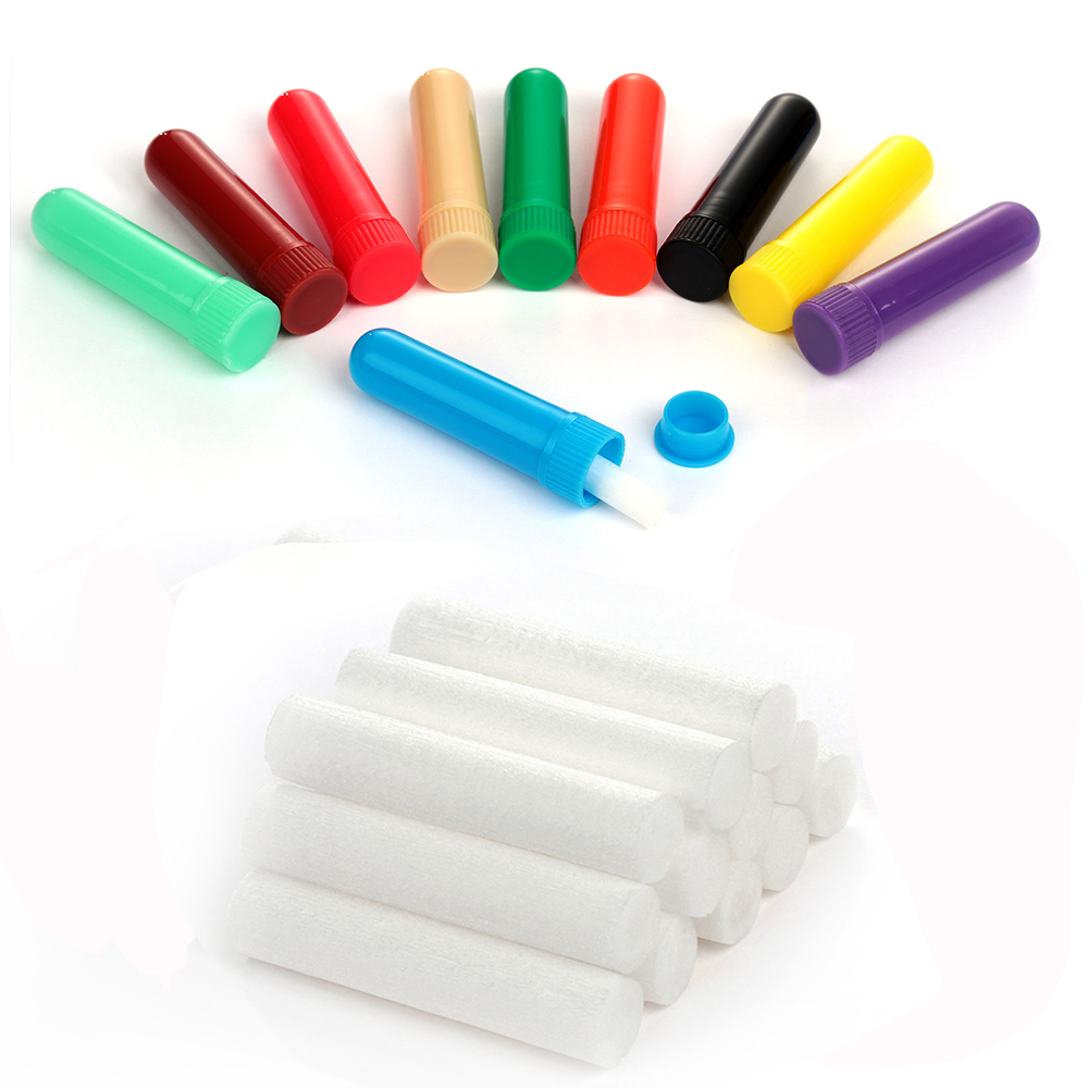 6pcs Plastic Blank Nasal Aromatherapy Inhalers Tubes Sticks With Wicks For Essential Oil Nose Nasal Container 12 Colors