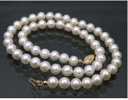 AAA+ perfect 9-10mm white akoya pearl necklace 25 925silver yellow gold claspAAA+ perfect 9-10mm white akoya pearl necklace 25 925silver yellow gold clasp