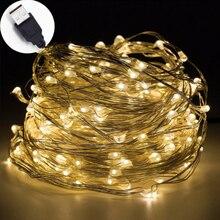 10 м USB светодиодная гирлянда, водонепроницаемая светодиодная медная проволочная гирлянда, праздничные уличные сказочные огни для рождественской вечеринки, свадебные украшения