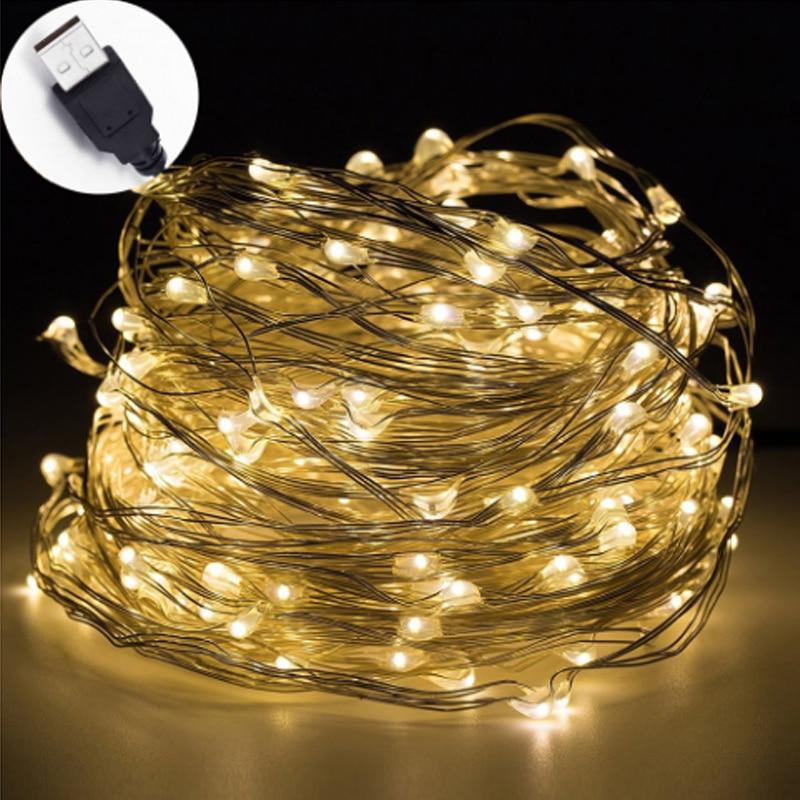 10 m USB LED Cadena de luz impermeable LED de alambre de cobre cadena vacaciones al aire libre luces de hadas para fiesta de Navidad decoración de boda