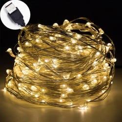 10 м USB светодиодный свет шнура Водонепроницаемый светодиодный Медный провод строка праздник уличная Гирлянда для рождественской