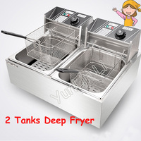 Stainless Steel Deep Fryer 2 Tanks Electric Frying Furnace French Fries Fried Chicken Machine WK 82