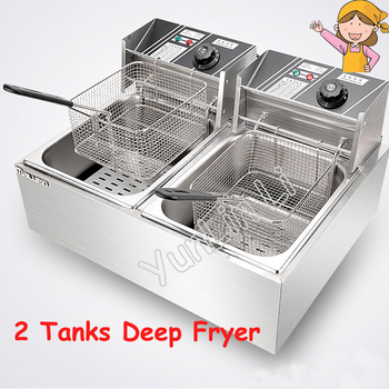 Double Tanks Electric Fryer Deep Fryer with Baskets Furnace Stainless Steel French Fries Cooker Fryer Chicken Machine df33a luxury electric computer fryer with 1 tank 2 baskets with oil filter cart
