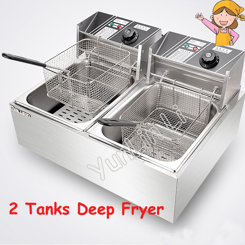 Stainless Steel Deep Fryer 2 Tanks Electric Frying Furnace French Fries Fried Chicken Machine WK-82 2 6l air fryer without large capacity electric frying pan frying pan machine fries chicken wings intelligent deep electric fryer