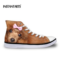 INSTANTARTS Fashion Design Women Teen Girl High Top Canvas Flats Cute Animal Dog Cat Pattern Woman's Brown Casual Lace Up Shoes