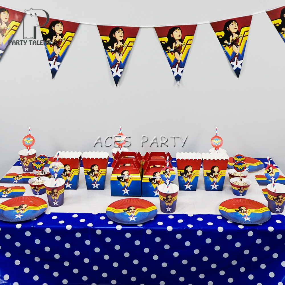 Party Supplies 98pcs For 12 Kids Wonder Woman Theme Birthday Party Decoration Tableware Set, Plate+cup+straw+banner+tablecover