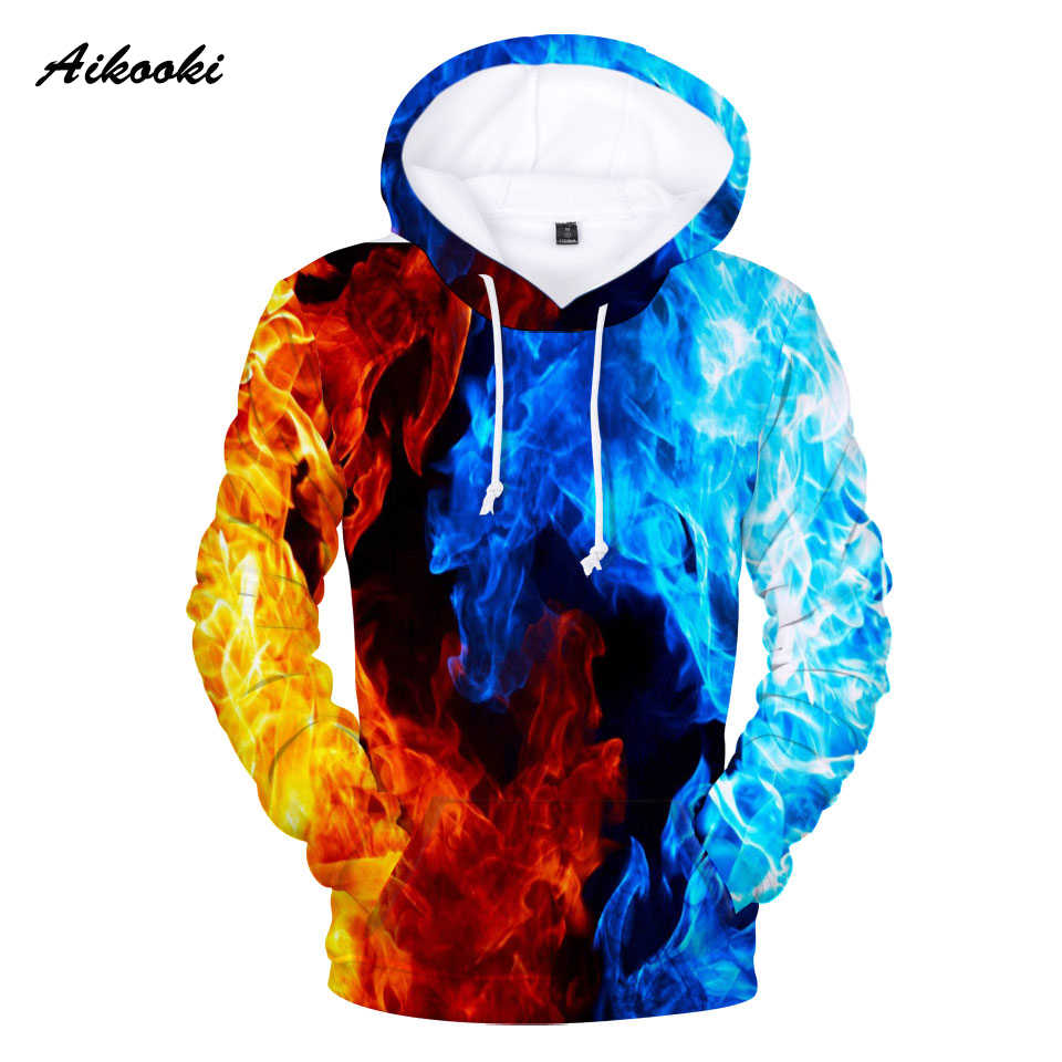 Aikooki Yellow And Blue 3D Fire autumn Men Sweatshirt Women Hoodies outwear Winter Handsome Hooded Male 3D Hoody hio hop clothes