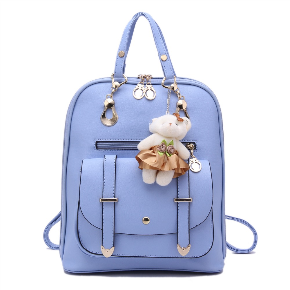 2017 Women Backpack Korean Students Backpack Lady Pu Leather Shoulder Bags Zipper Schoolbags for Fashion Teenger Girls RucksacK