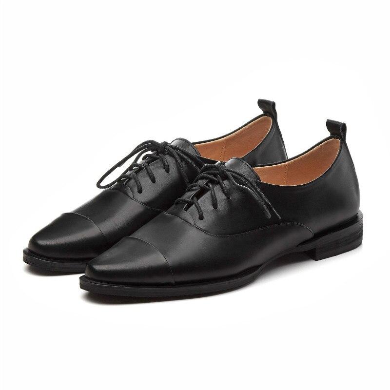Doux Marque Cuir 42 Grande Oxford Beige Taille Beige De Femmes 33 noir Mocassins Véritable black Luxe Chaussures Appartements En Confortable Xiuningyan pwq8dvp