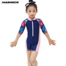 Brand New One piece Swimsuit For Girls Long Sleeve Soild and Printed Patchwork Swimming wear with cap Children kids bathing suit