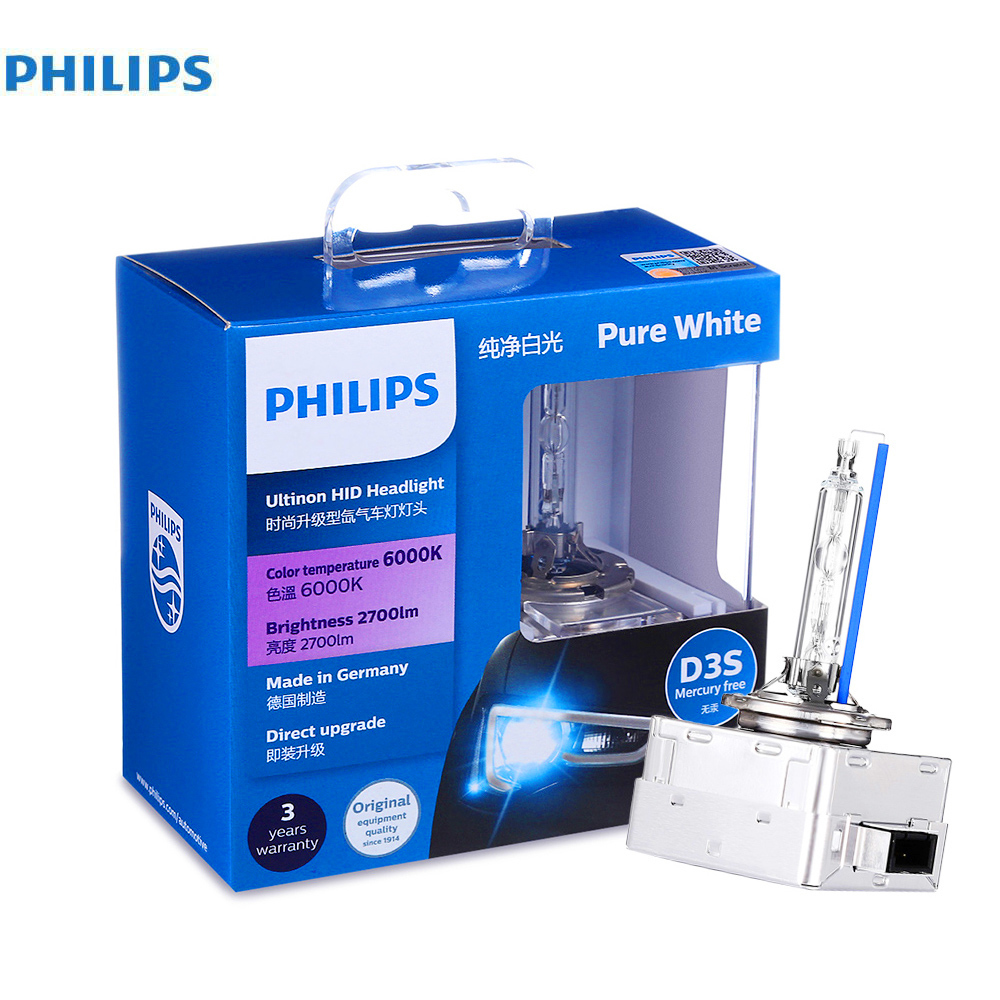 Philips Pair of 12V 35W D3S Xenon Car Headlights 6000K White Bright Super Vision Lamp Bulb headlamp Car Head Lights