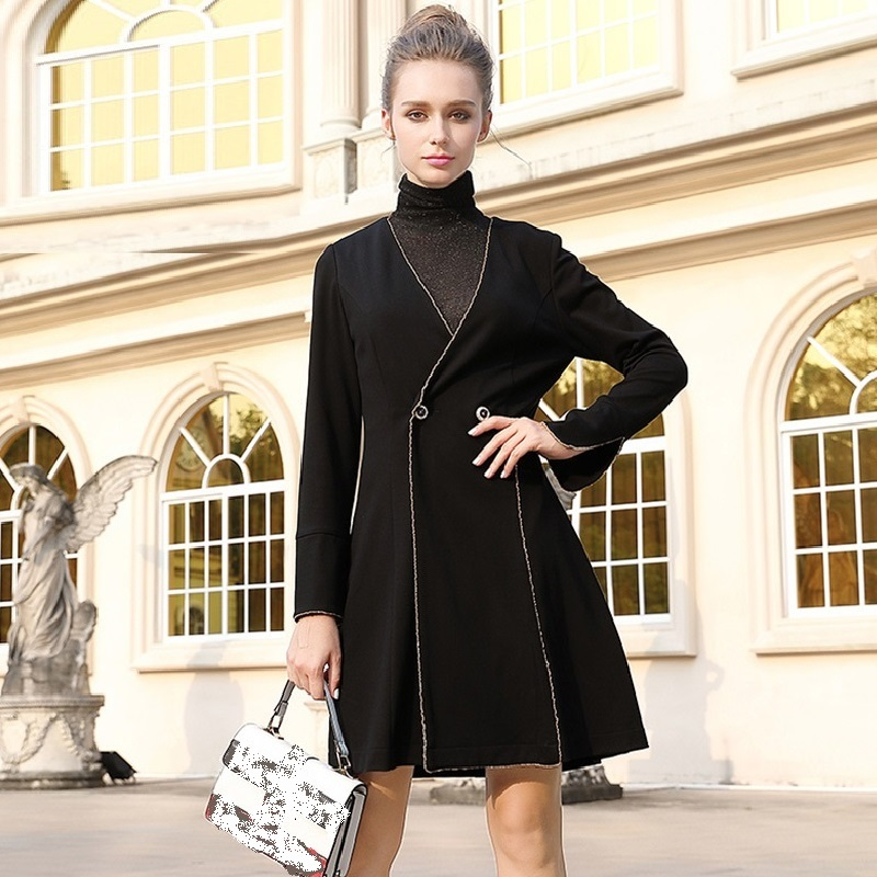 2017 Autumn Winter Fashion Ladies Plus size long trench coat V neck cultivating slimming outwear Female outfit L-5XL XXXXXL 6172