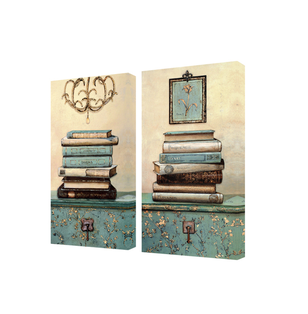 Vintage Still Life Books Painting On The Canvas Wall Art Painting