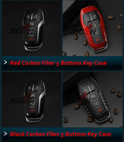 Black Red Carbon Fiber Smart Remote Key 3 & 4 & 5 Buttons Fob Case Shell Cover For Ford Mustang 2015 2017 Explorer 2016 2017
