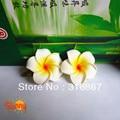 50 white Foam Hawaiian Plumeria flower Frangipani Flower bridal hair clip 4.5cm