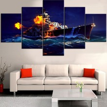 HD Printed Painting 5 Pieces World Of Warships Paintings Naval Ship Poster Home For Modern Decorative Bedroom Wall Art Framework
