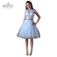 New Blue Short Tulle Prom Dresses 2017 Halter V Neck Sexy Open Back Two Piece Hot