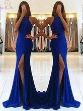 Ярко синие вечерние платья 2019 платье Русалочки без рукавов
