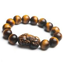 Genuine 100% Natural Tiger Eye Yellow Gemstone Pi Xiu Round Beads Bracelet 14mm Women Men Crystal Drop Shipping AAAAA