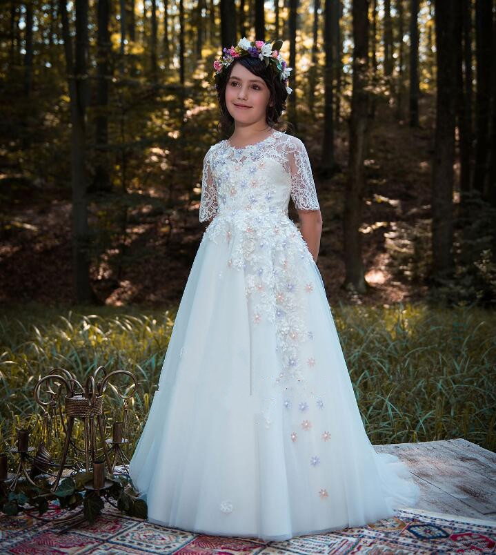 Little Girl Pageant Dresses Princess Tulle Sheer Lace Appliques White Floor Length Kids First Communion Gown 0 16 Year Old Dress