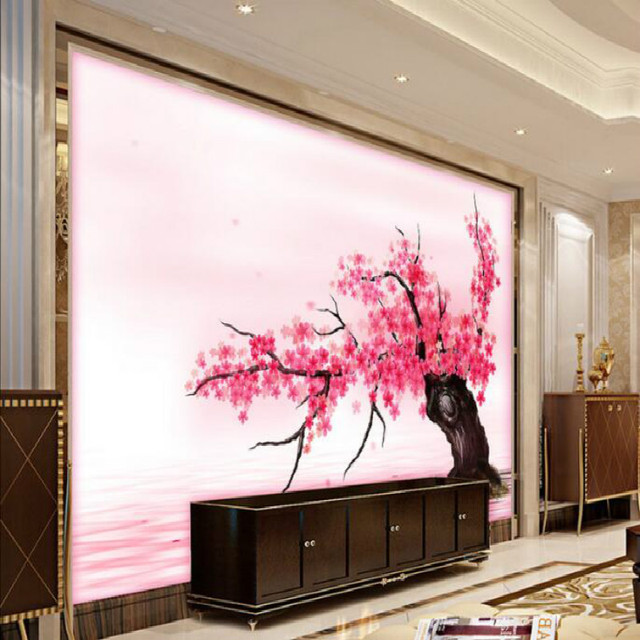 Pink Romantic Sakura Reflection Large Mural Wallpaper Living Room ...