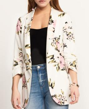 Autumn Winter Blazer suit women slim fashion long sleeve casual blazers work Suit slim peony flower print suit