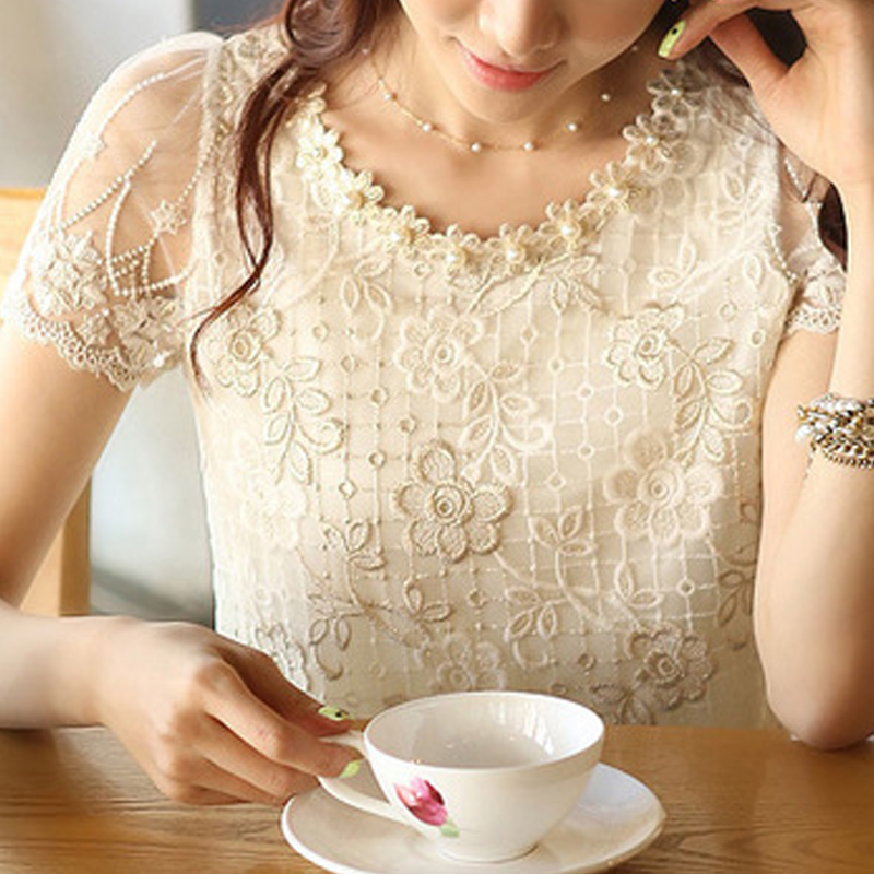 Chiffon Shirt Blouse Embroidery Lace S-XXXL New-Offer Women's Summer O-Neck D338a31 Top-Beading