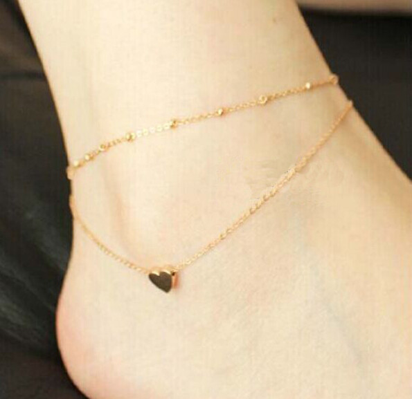HTB137S8HFXXXXXdXpXXq6xXFXXXV Two Chains Golden Anklet With Cute Heart Pendant For Women