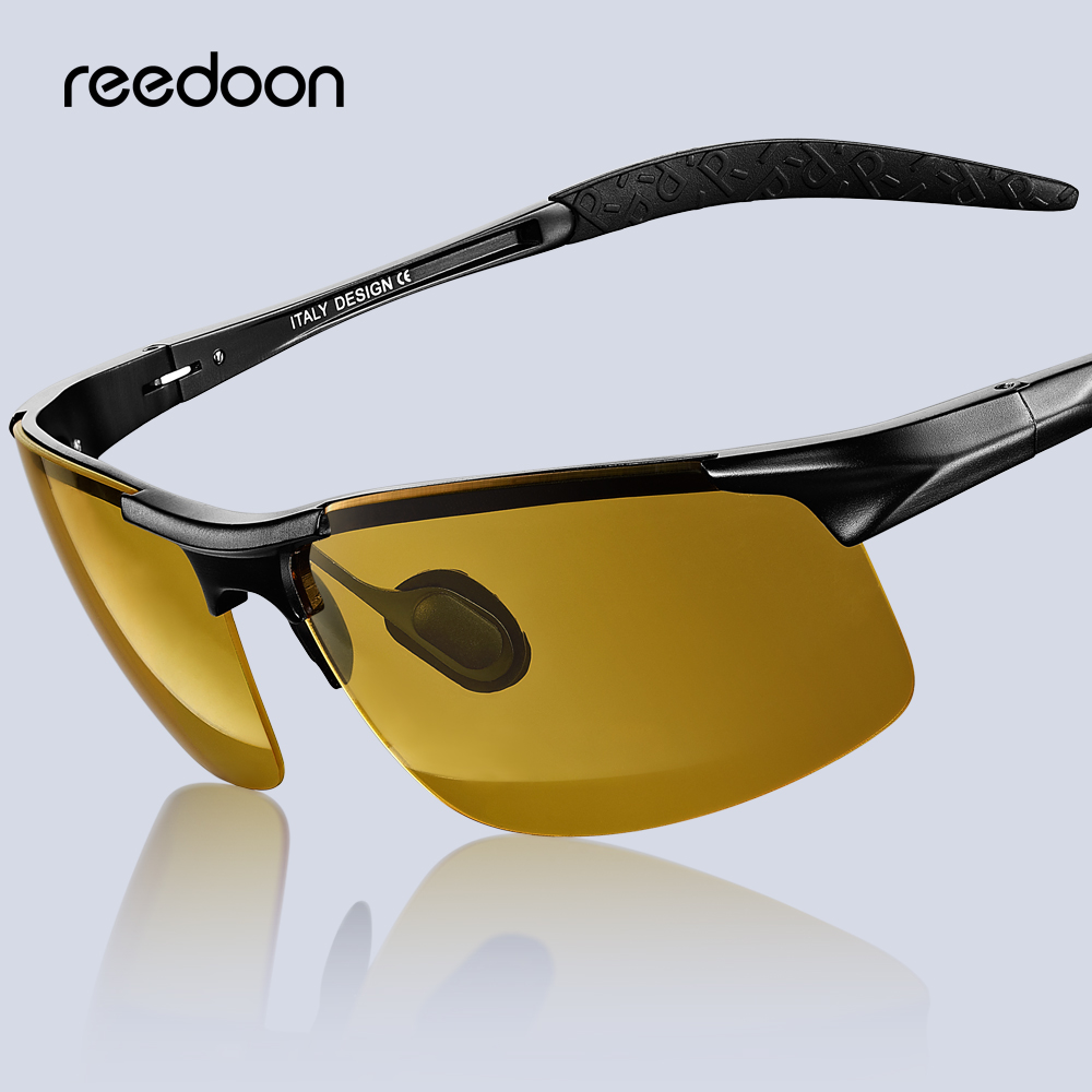 Reedoon Men Night Vision Glasses Polarized Anti-Glare Lens Aluminium Magnesium Frame Yellow Sunglasses Driving Goggles For Car