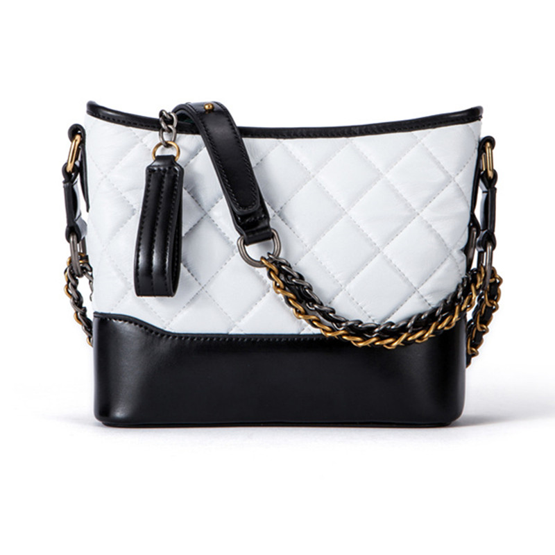 2018 Casual Women Messenger Crossbody Genuine Leather Diamond Lattice Zipper Bags Shoulder Handbag Chains Bucket Soft White Bag women shoulder bag cossbody handbag genuine first layer of cow leather 2017 korean diamond lattice chain women messenger bag