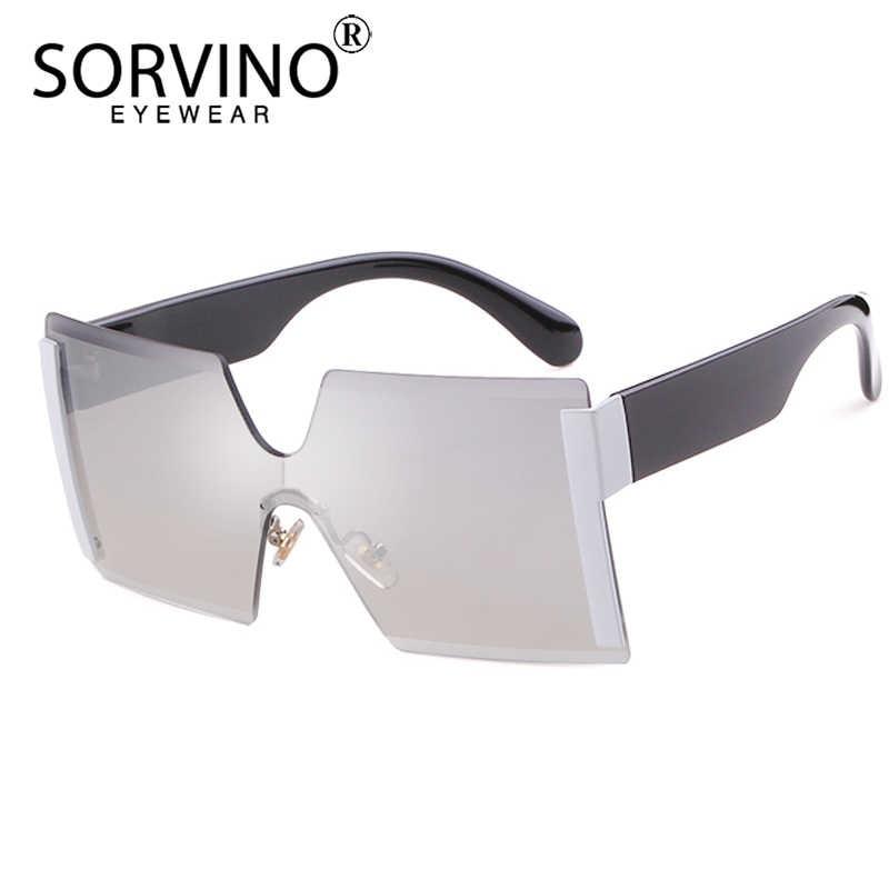 4b49ebc6581 SORVINO Retro Oversized Rimless Square Sunglasses 2018 Women Men Designer  Luxury Brand Futuristic Sun Glasses Big