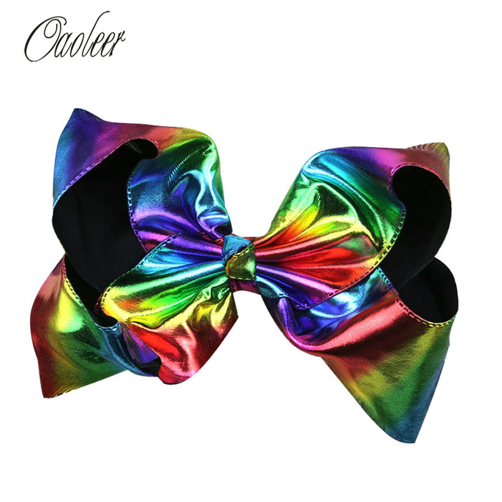 8 Big Rainbow Leather Hair Bow With alligator Clip Girl colorful Soft Hairbows Kids Fashion Hair Accessories Best Gifts halloween party zombie skull skeleton hand bone claw hairpin punk hair clip for women girl hair accessories headwear 1 pcs
