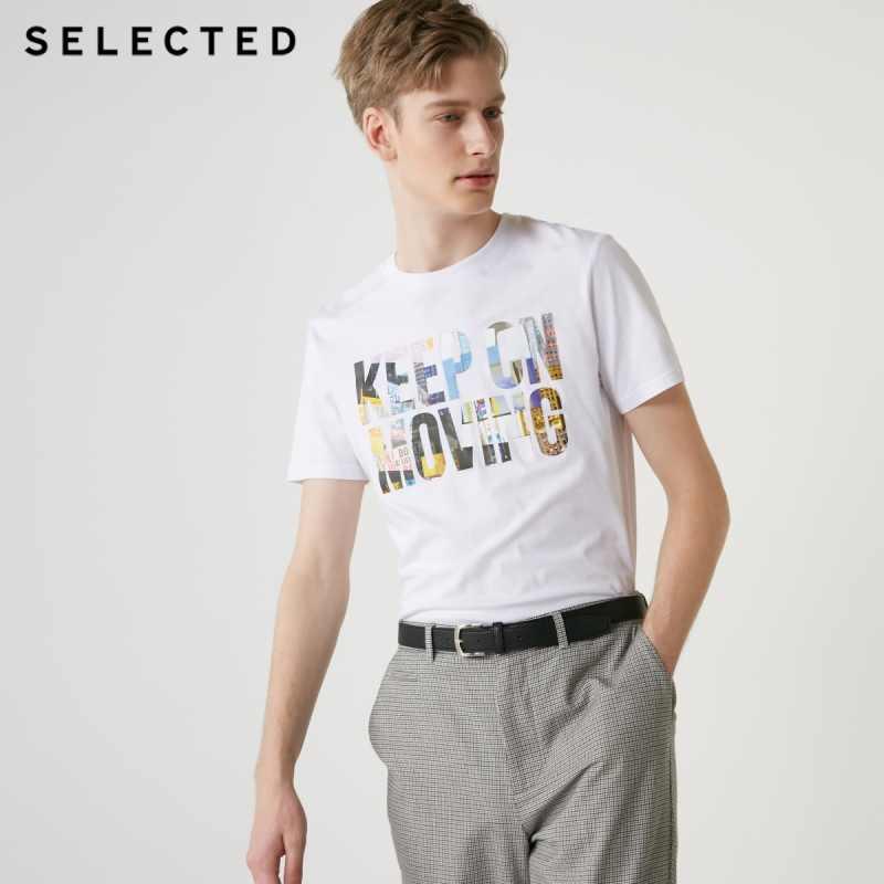 เลือกฤดูร้อนชาย 100% Cotton Letter พิมพ์เสื้อแขนสั้น S   419201575