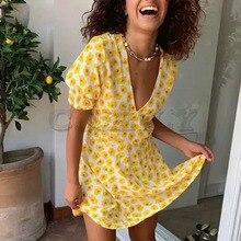 Cuerly chic boho beach yellow floral print dress women v neck 2019 summer skater dress mini short dress L5 chic floral print sleeveless skater dress