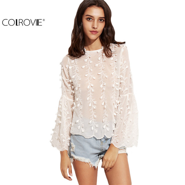 COLROVIE White Flower Applique Flare Sleeve Lace Up V Back Top Women O Neck Plain Shirt Cute Fall Blouse
