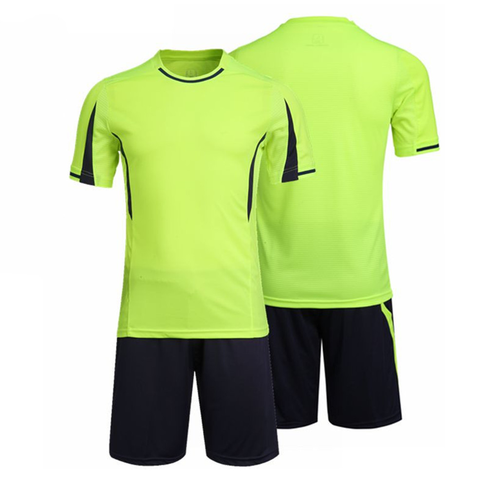 Design t shirt badminton - 2017 New 100 Polyester Men Soccer Jerseys Set Top Blank Football Team Training Suits Breathable Short Badminton Uniforms Design