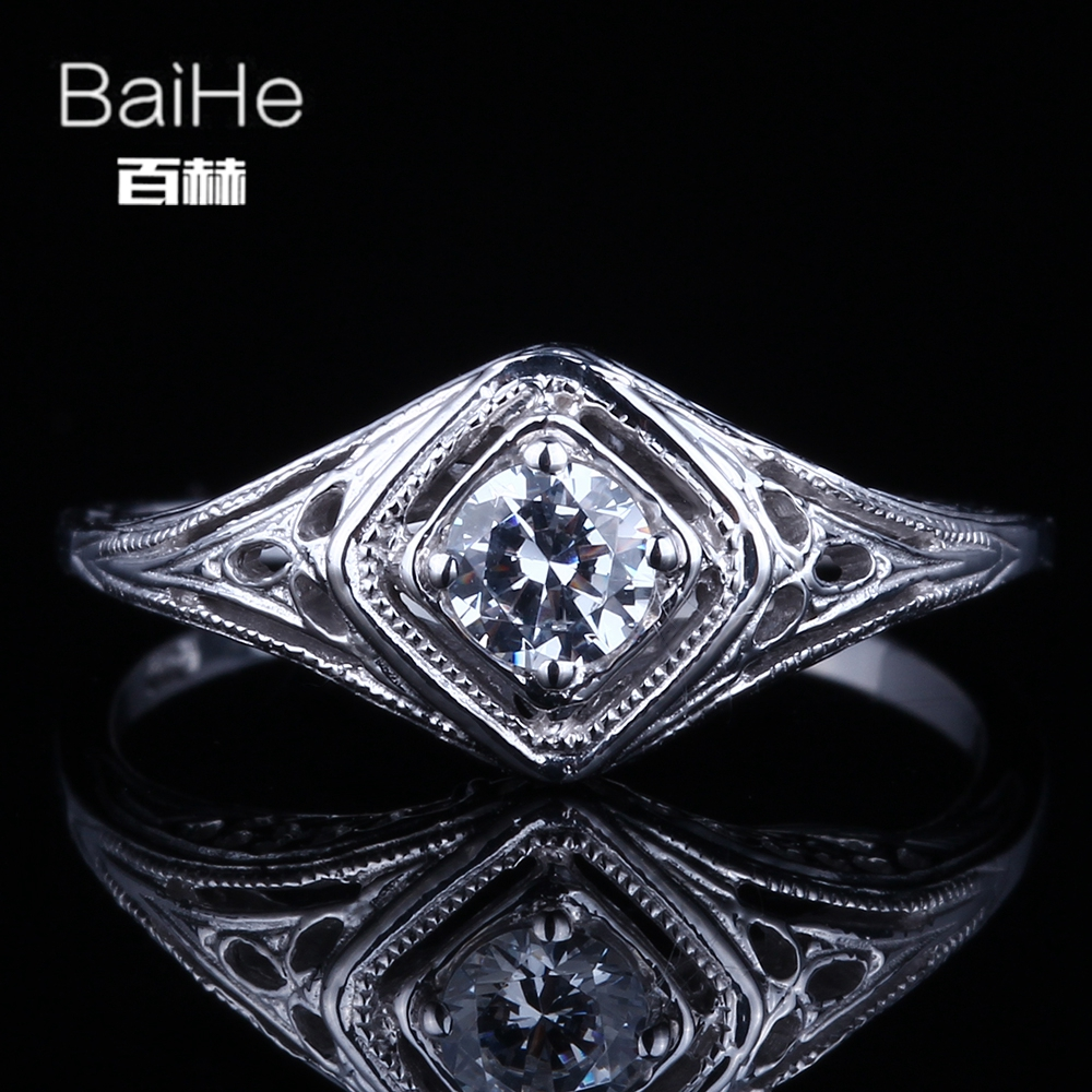 BAIHE Solid 14K White Gold(AU585)0.5CT Certified Flawless 100% Genuine AAA Graded Cubic Zirconia Wedding Women Fine Jewelry RingBAIHE Solid 14K White Gold(AU585)0.5CT Certified Flawless 100% Genuine AAA Graded Cubic Zirconia Wedding Women Fine Jewelry Ring