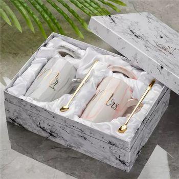 Mr Mrs Flamingo-Taza de cerámica con patrón de mármol para parejas, regalo para amantes del hogar, regalo de boda