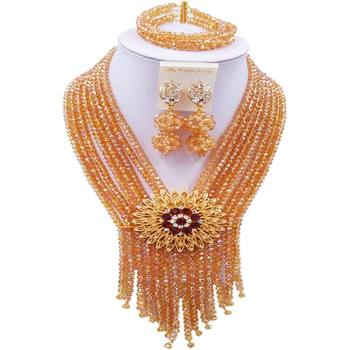 Cheap Champagne Gold AB Crystal Necklace Jewelry Sets for Party and Daily Use 8C-SK-06