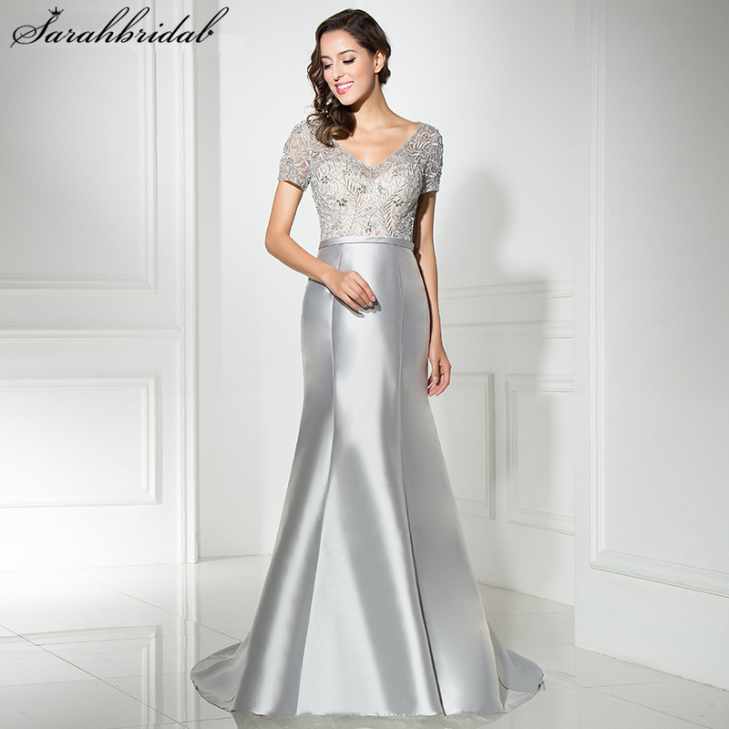 Evening Dresses Sexy Long Evening Dresses Mermaid V Neck Court Train Zipper Floor Length Satin Crystal Beading Dress Robe De Soiree Lsx312 Delaying Senility
