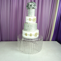 Round Clear Acrylic Cake Stand With Hanging Crystal Square Supplies Wedding decorations Party Decor