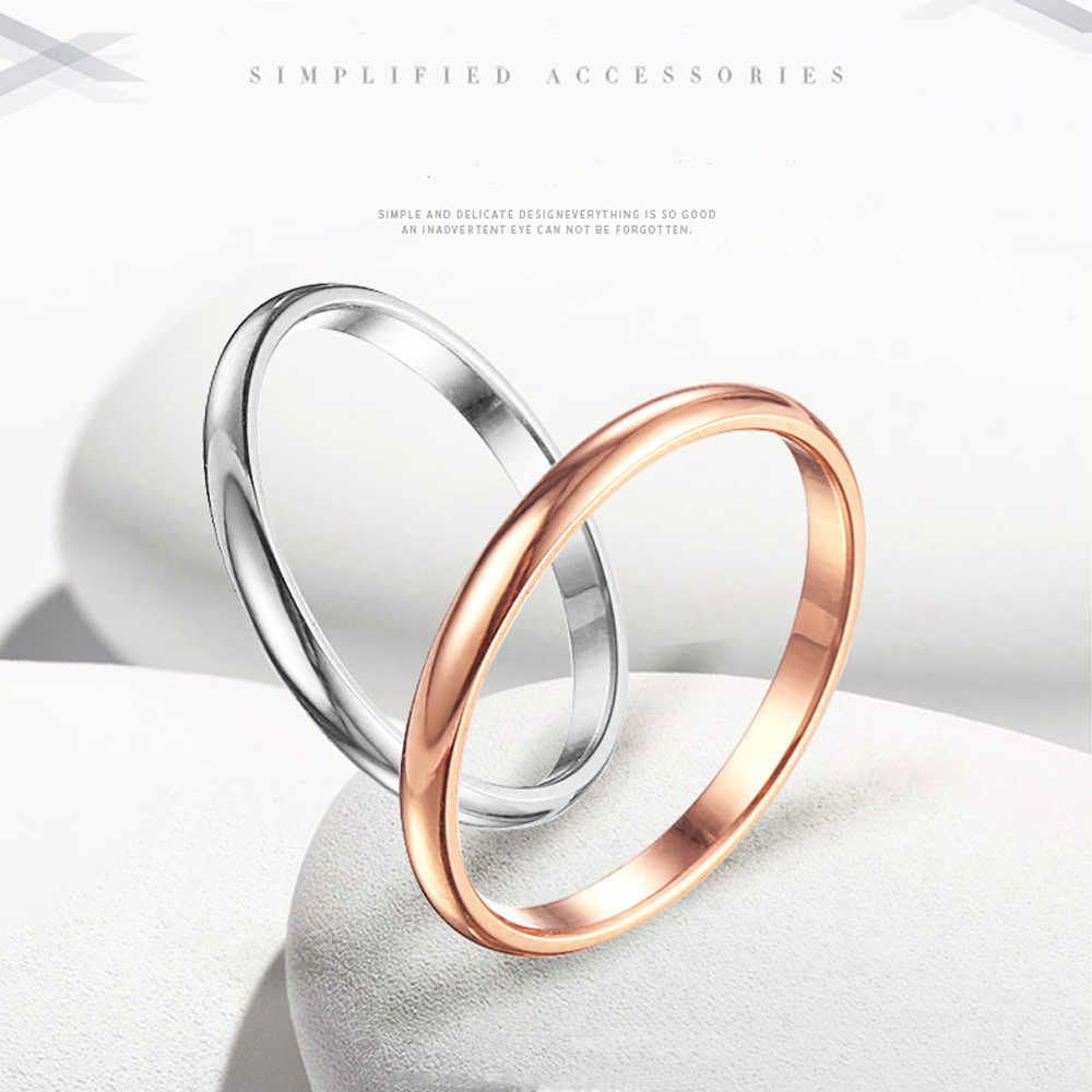 Simple Fashion Couple Ring 2mm Thin Stackable Punk Ring Gold Silver Finger Ring Stainless Steel Plain Band Party Ring Size 3-10