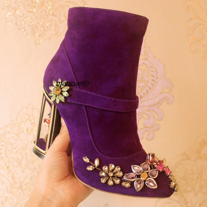 Gorgeous Purple Suede Crystal Flowers Decorated Short Boots Fancy Fake Buckle Cut out Caged Block Heel Ankle Boots