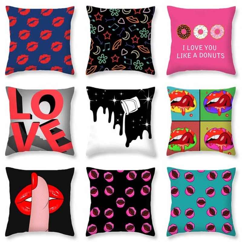 Personalized Sexy Lip Pillow Set Red Pink Black Orange Purple Blue Cherry Beard Decoration Home Sofa Bed Cushion Cover 45*45 Home & Garden Cushion Cover