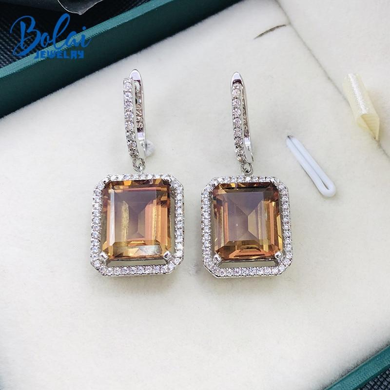 Bolai color change zultanit dangle earrings 925 sterling silver eleglant nano diaspore gemstone earrings for women wedding 2019 in Earrings from Jewelry Accessories