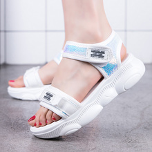 High Heels Sandals Women Fashion 2019 Summer Bling Women Sandals Heels Wedges Open Toe White Platform Shoes Chaussure Femme