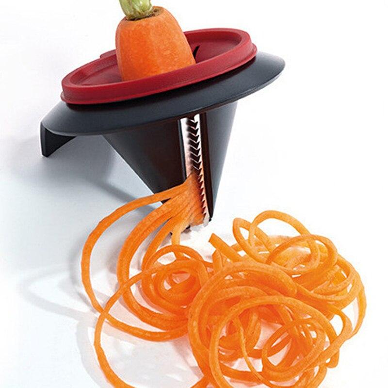 Kitchen Gadget Stainless Steel Funnel Model Vegetable Shred Device Spiral Slicer Carrot Radish Cutter Garnishing Tool